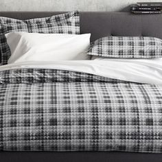 Crate & Barrel Linde Gray Plaid Houndstooth Cotton Duvet Cover King Grey Plaid #CrateBarrel #Contemporary