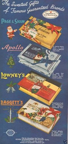 1950s Vintage Chocolate Candy Box Page Shaw Apollo Lowneys Daggett Gift Ad