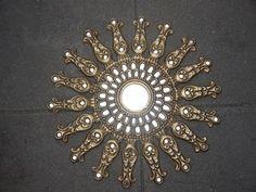 Stunning ornate Indian style sunburst Peacock Mirror, Sunburst Mirror, Indian Style, Bohemian Decor, Indian Fashion, Mirrors, Brooch, Art, Sun Mirror