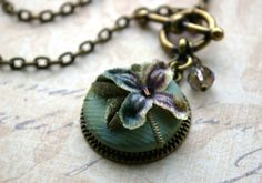 Fabric Button Jewelry, Pendant Necklace, cut velvet and vintage millinery, textile jewelry, button jewelry