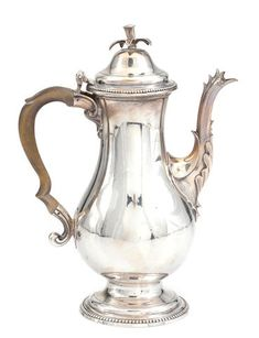 A Scottish George III Provincial  sterling silver coffee pot by William Scott I, Dundee,  fourth quarter 18th century Dundee, 18th Century, Tea Pots, Auction, Coffee, Sterling Silver, Kaffee, Tea Pot, Cup Of Coffee