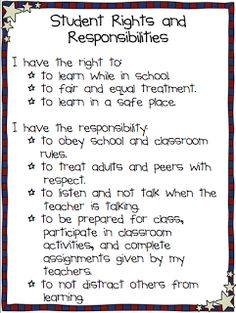 Student Rights & Responsibilities.This would be great in any room but perfect for a Social Studies classroom! Classroom Posters, School Classroom, Science Classroom, Elementary Classroom Rules, Classroom Contract, Class Contract, Behavior Contract, Behavior Plans, Social Studies Classroom