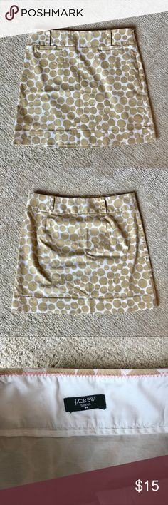 """J. Crew Skirt Pre-loved J Crew Skirt in excellent condition. Tags are missing but it is a size 0 and cotton blend.  16"""" length/14"""" (across) waist. No trades or off-Poshmark transactions. Thanks and happy Poshing!! J. Crew Skirts Mini"""