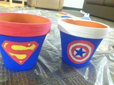 Superhero pots! Easy DIY decorations
