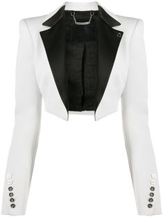 White cropped tuxedo bolero jack from Philipp Plein featuring an open front, long sleeves, faux button cuffs and a contrast lapel. Kpop Fashion Outfits, Stage Outfits, Suit Fashion, Classy Outfits, Cute Outfits, Couture Coats, Mode Chic, Look Cool, Aesthetic Clothes