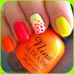 Nina Ultra Pro #neon colors in Punki Pink, Orange Flame, and Solar Flare.  #polkadot #pink #orange #yellow #spring #springnails #summer #MyNailArt @Bloom.com