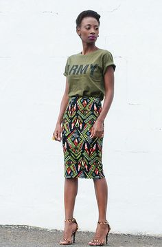 LOVE the african print and length of skirt, and combo with tshirt