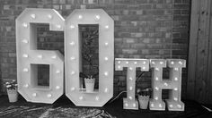 60th Large Light Up Letters for Birthday Celebrations.