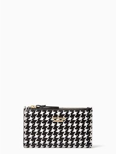 the cameron street houndstooth mikey, a zip-top leather wallet in a classic houndstooth print--safely stores your credit cards, i. and handwritten love notes (which no one should ever be without). Kate Spade Cameron Street, Love Notes, Black Cream, Chanel Boy Bag, Houndstooth, Leather Wallet, Cufflinks, Shoulder Bag, Classic