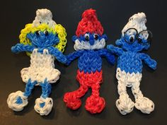 Smurf Rubber Band Figure by BBLNCreations on Etsy  Rainbow Loom Smurfette Rainbow Loom Papa Smurf Rainbow Loom Brainy Smurf