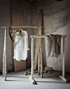 rustic wood clothing rack