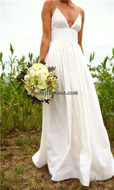 beach wedding dress - not quite so low cut though