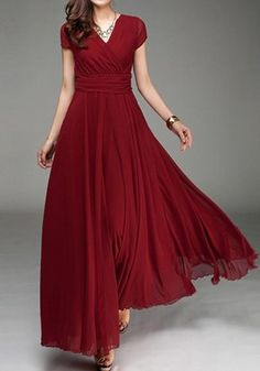 75abe2dcaac Red Pleated Double-deck Bohemian Short Sleeve Elegant Maxi Dress