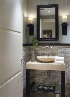 HALF BATHROOM IDEAS – Half bathroom is usually the smallest room in the house and never to receive much attention. Actually, half bathroom is a functional small space where you . Small Basement Bathroom, Half Bathroom Decor, Modern Bathroom, Bathroom Ideas, Bathroom Designs, Bathroom Mirrors, Small Bathrooms, Bathroom Laundry, Target Bathroom
