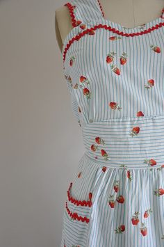 Vintage strawberry print day dress