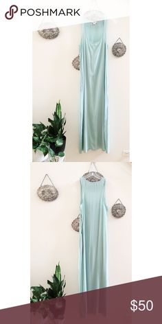 """Bar III 100% Silk Maxi Dress size M - NWOT New and never worn NWOT 100% silk pale turquoise tank maxi dress by Macy's brand Bar III, size medium. Bought in 2010 or 2011, this was from when Bar III was just newly launched. The silk is SO soft--feels just like Equipment silk shirts. 56"""" shoulder to hem, two front pockets, some creases from storage and some faint deodorant marks from trying on--but are very hard to notice. This just isn't my color n has been sitting untouched for too long…"""