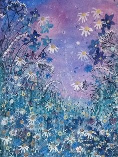 ARTFINDER: Twilight daisies by Jane Morgan - This painting was inspired by daisies, cow pasley and cornflowers as the sky turns indigo and purple with night falling. I have used watercolour, gouache and...