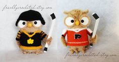 Ice Hockey Owl with Stick Helmet crocheted door freshlycrocheted