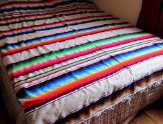 Throw Blanket, Mexican Rainbow Sarape / Saltillo