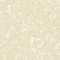 Vintage Patina Beige, Grey, Taupe, White and Peach Scroll Wallpaper