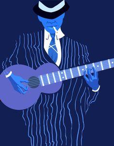 "christiebeardraws: "" I think my theme this year is blue people… Robert Johnson. """