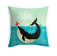 "The Bird and The Whale -  illustrated Cushion Cover / Throw Pillow Cover - Children's room - Home Decor - (16"" x 16"") by Oliver Lake by iotaillustration on Etsy https://www.etsy.com/uk/listing/151542069/the-bird-and-the-whale-illustrated"