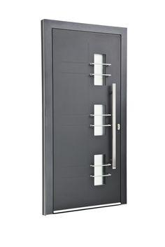 Sternstunden Eingangstüre PLUTO 2 - Aluminiumtüre außen in grau. Besuchen Sie unseren Schauraum in Gramastetten - dort haben wir einige unserer Haustürmodelle ausgestellt. #Fensterschmidinger #doors #türen #alu #gramastetten #oberösterreich