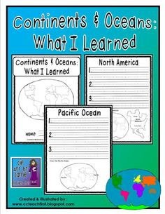 This blog has TONS of information, lesson plans, and activities about continents and oceans.  Including mini books, journal pages, word wall cards, games, what I learned pages, and more.
