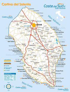 Cartina del Salento - Costedelsud.it