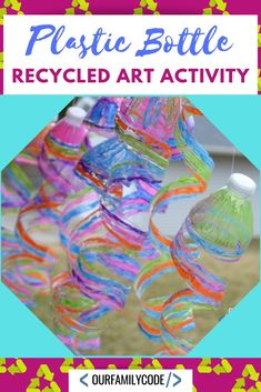plastic water bottles into a sun catcher with this great spring project! plastic water bottles into a sun catcher with this great spring project! Water Bottle Crafts, Plastic Bottle Crafts, Recycle Plastic Bottles, Water Bottles, Bottle Candles, Recycled Crafts Kids, Recycled Art Projects, Recycle Crafts, Recycled Furniture