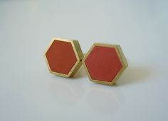 Each pair of brass hexagon stud earrings is filled with polymer clay, with a multitude of colours available.This listing is for a pair of matte finish cool mint hexagon studs.Studs measure 8.5 millimeters in diameter and 2.5 millimeters thick, and because of how they're made, each pair is as unique as you are. Brass hexagon forms are filled and filed, and come with  18 karat gold-plated surgical steel bases with tight-fitting butterfly backings.