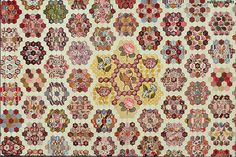 British Quilt - met museum of art The number of differently patterned printed cottons used in this quilt top, ranging in date from the to the Old Quilts, Antique Quilts, Vintage Textiles, Vintage Quilts, Hexagon Patchwork, Hexagon Quilt, Patchwork Quilting, Met Museum Of Art, Petra Prins
