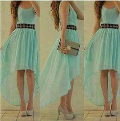 Vestido asimétrico en color tifanny