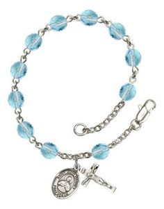 St. John Vianney Silver-Plated Rosary Bracelet with 6mm Aqua Fire Polished beads