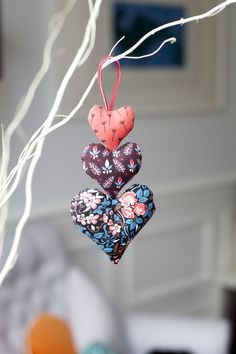 Cute hanging hearts. Family ornament- embroider names with year.