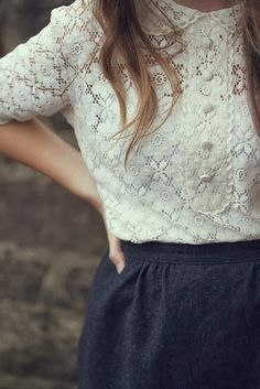 White Lace Top With Woolen Skirt
