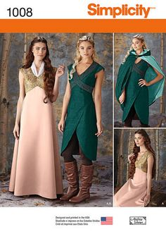 Simplicity Pattern 1008 Misses' Fantasy Costumes. This medieval fantasy costume is designed for travel and adventure. pattern includes floor length gown, high low day dress and close fitting knee length cape with hood. Sizes 14 thru 22 Costume Halloween, Elf Costume, Costume Dress, Diy Jedi Costume, Elf Cosplay, Halloween Party, Simple Dresses, Day Dresses, Cape Dress