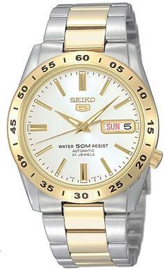 Klassisk Seiko ur med automatik urværk - Seiko Automatic Silver/Gold/White SNKE04