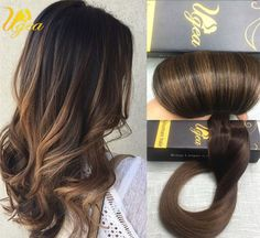 Balayage Full Head Clip In Human Hair Extensions Thick Real Natural Remy Hair #Ugea #Ombr