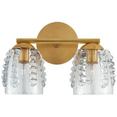"""Gisela Double Sconce in Hand-Rubbed Antique Brass with Seeded GlassItem # ARN 2419HAB-SGDesigner: AERINHeight: 9""""Width: 14""""Extension: 7.25""""Backplate: 5"""" RoundSocket: 2 - E12 CandelabraWattage: 2 - 40 G16.5Weight: 7 Pounds"""