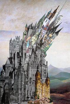 Denis Schäfer: Turmstadt #Collage #Gotik #Türme #Romanntik #Schlösser #Wackelturm #Babel #startyourart #DenisSchäfer www.startyourart.de
