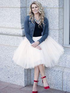 1e9321b285bd4 Clarisa - Champagne Tulle Skirt, Ivory Tulle Skirt, Puffy Princess Tutu,  Midi Tulle Skirt, Adult Tutu, Plus Size Tutu, Bridal Skirt