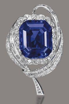 A 47.15-carat Burmese Sapphire and Diamond Brooch, by Mellerio- $3,648,894