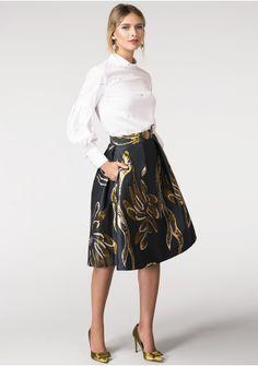 Closet Wrap Over Printed Skirt Dress - Gold Closet MzPW9a0hcL
