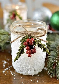 This craft idea for snowy mason jars not only makes a wonderful addition to your holiday table, but it's sure to inspire you with other beautiful ways to incorporate festive cheer into your home. Easy Diy Christmas Gifts, Noel Christmas, Christmas Projects, All Things Christmas, Winter Christmas, Holiday Crafts, Holiday Fun, Christmas Decorations, Christmas Ornaments