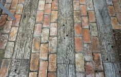 Timber and old red brick paving