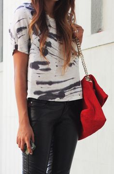 Graphic splatter tee and leather leggings with red chained bag! Love!