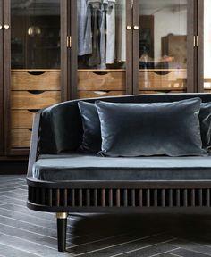 Beautiful design. Velvet sofa
