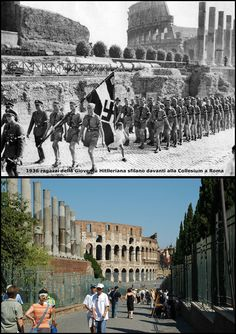 Ragazzi della  gioventù Hitleriana sfilano davanti alla Collesium Via Sacra a  #Roma1936