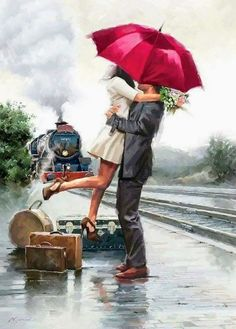 Add an elegant and simple appeal to your home decor using Trademark Fine Art Couple on Train Station by The Macneil Studio Printed Canvas Wall Art. Art Couple, Couple Painting, San Francisco Art, Umbrella Art, New York Art, Art World, Love Art, Contemporary Art, Illustration Art